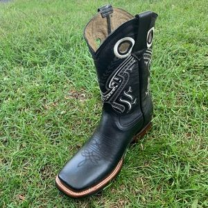 Men's rodeo Cowboy square toe boots black